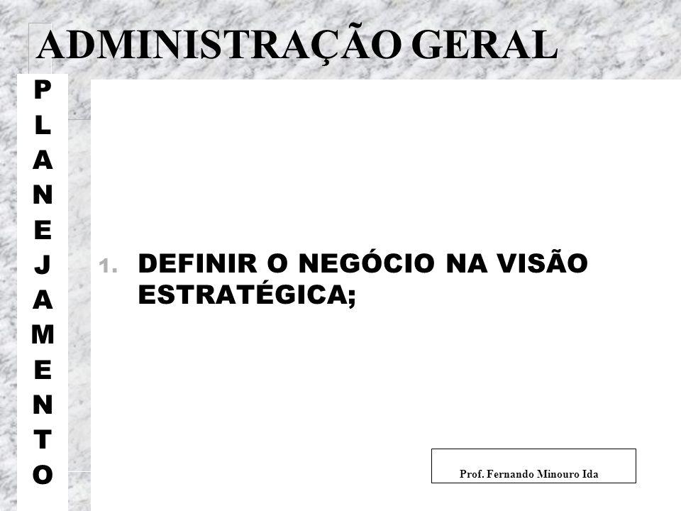 ADMINISTRAÇÃO GERAL PLANEJAMENTOPLANEJAMENTO 1. DEFINIR O NEGÓCIO NA VISÃO ESTRATÉGICA; Prof. Fernando Minouro Ida