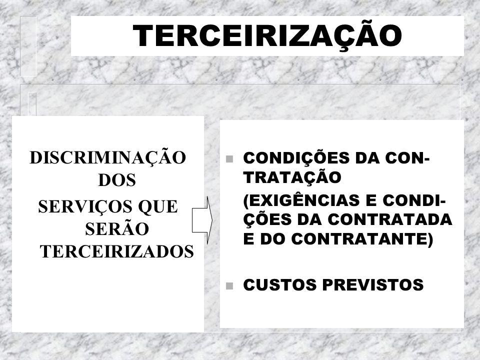 TERCEIRIZAÇÃO DISCRIMINAÇÃO DOS SERVIÇOS QUE SERÃO TERCEIRIZADOS n CONDIÇÕES DA CON- TRATAÇÃO (EXIGÊNCIAS E CONDI- ÇÕES DA CONTRATADA E DO CONTRATANTE
