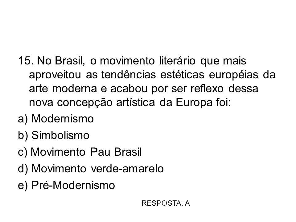 15. No Brasil, o movimento literário que mais aproveitou as tendências estéticas européias da arte moderna e acabou por ser reflexo dessa nova concepç