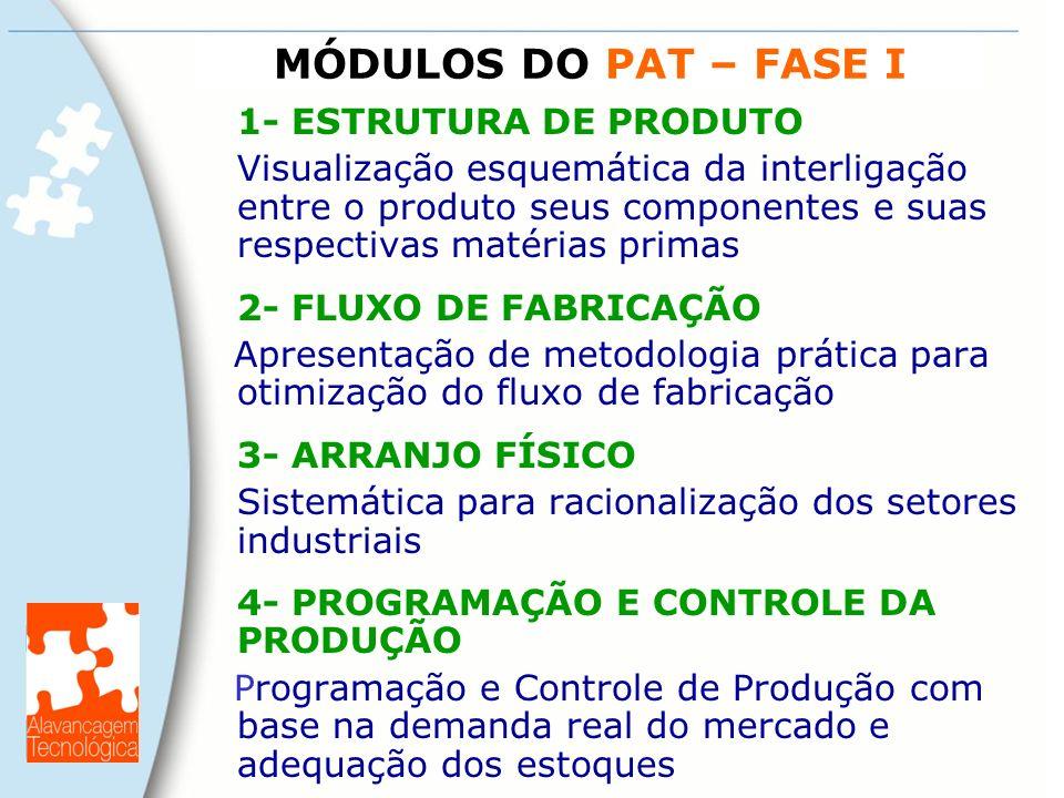 MÓDULOS DO PAT – FASE I 1- ESTRUTURA DE PRODUTO Visualização esquemática da interligação entre o produto seus componentes e suas respectivas matérias