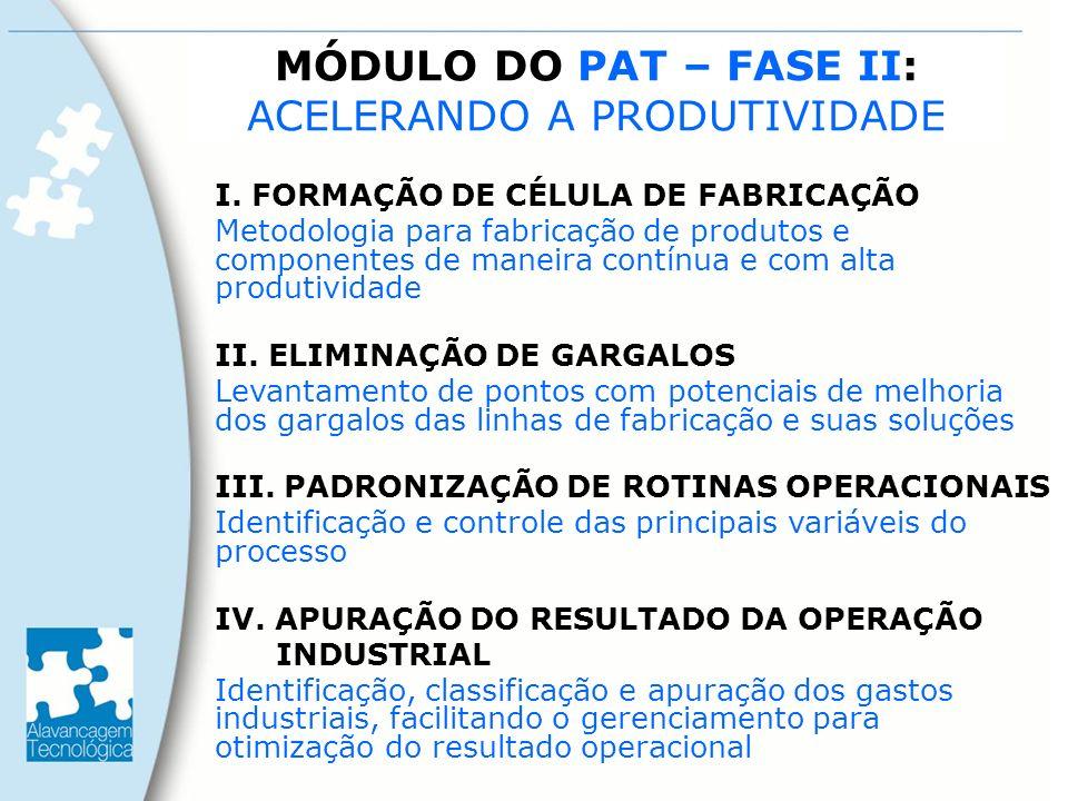 MÓDULO DO PAT – FASE II: ACELERANDO A PRODUTIVIDADE I. FORMAÇÃO DE CÉLULA DE FABRICAÇÃO Metodologia para fabricação de produtos e componentes de manei