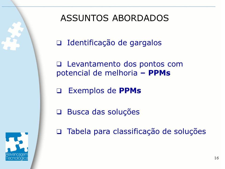 16 Identificação de gargalos Levantamento dos pontos com potencial de melhoria – PPMs Tabela para classificação de soluções Exemplos de PPMs Busca das