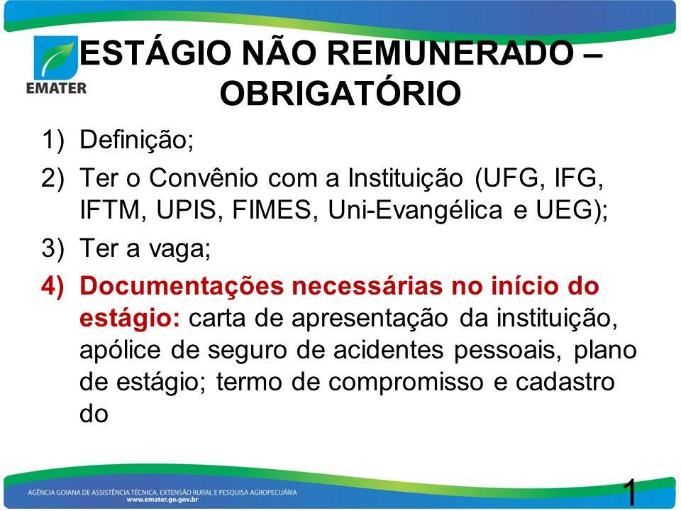 ESTÁGIO NÃO REMUNERADO – OBRIGATÓRIO 1)Definição; 2)Ter o Convênio com a Instituição (UFG, IFG, IFTM, UPIS, FIMES, Uni-Evangélica e UEG); 3)Ter a vaga
