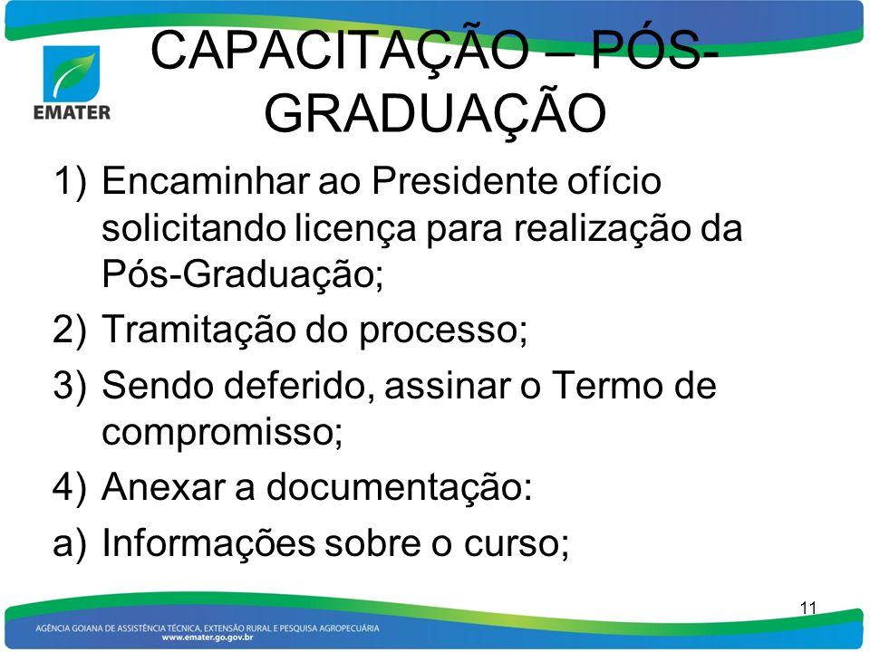 CAPACITAÇÃO – PÓS- GRADUAÇÃO 1)Encaminhar ao Presidente ofício solicitando licença para realização da Pós-Graduação; 2)Tramitação do processo; 3)Sendo