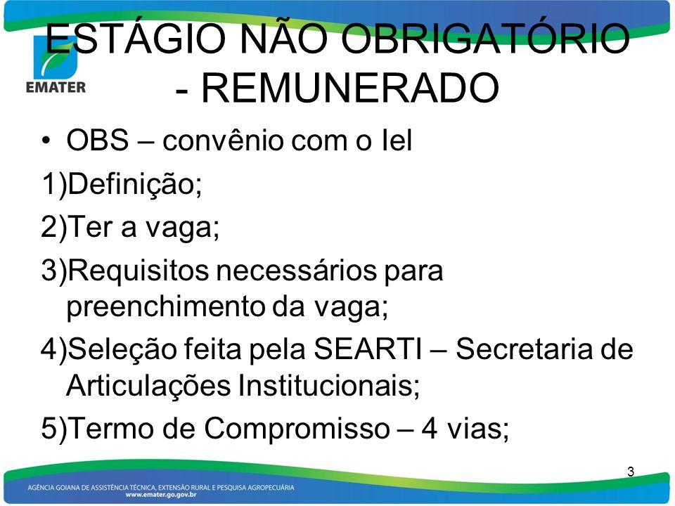 ESTÁGIO NÃO OBRIGATÓRIO - REMUNERADO OBS – convênio com o Iel 1)Definição; 2)Ter a vaga; 3)Requisitos necessários para preenchimento da vaga; 4)Seleçã