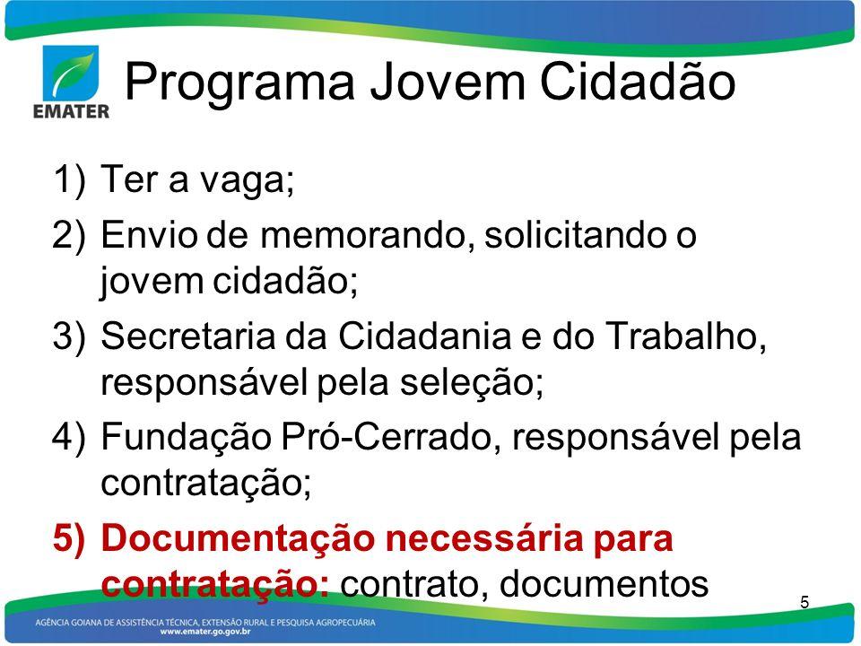 Programa Jovem Cidadão 1)Ter a vaga; 2)Envio de memorando, solicitando o jovem cidadão; 3)Secretaria da Cidadania e do Trabalho, responsável pela sele