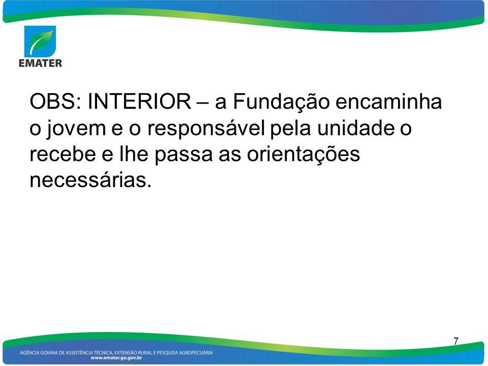 OBS: INTERIOR – a Fundação encaminha o jovem e o responsável pela unidade o recebe e lhe passa as orientações necessárias. 7