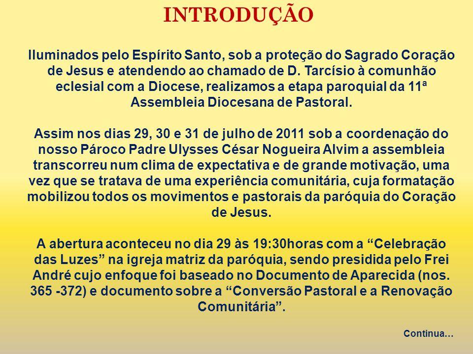INTRODUÇÃO Iluminados pelo Espírito Santo, sob a proteção do Sagrado Coração de Jesus e atendendo ao chamado de D. Tarcísio à comunhão eclesial com a