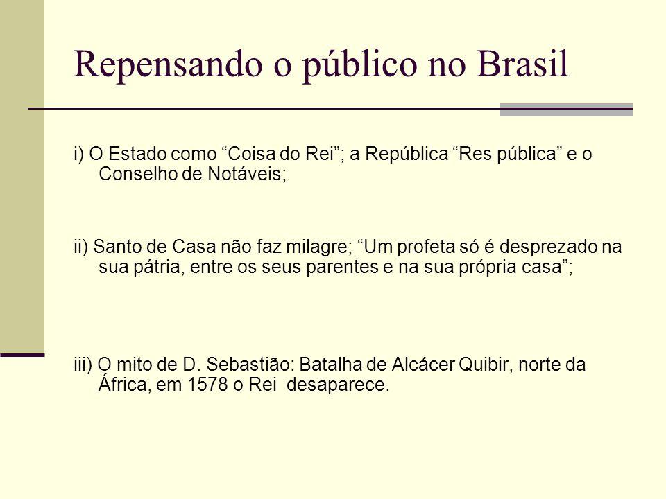 Repensando o público no Brasil i) O Estado como Coisa do Rei; a República Res pública e o Conselho de Notáveis; ii) Santo de Casa não faz milagre; Um