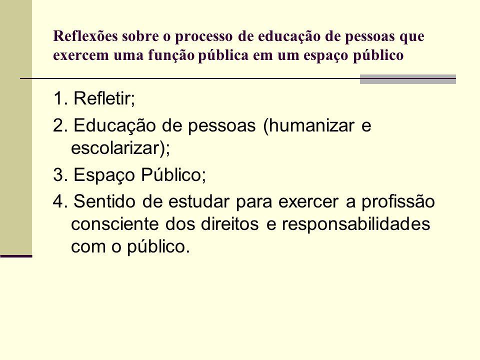 Reflexões sobre o processo de educação de pessoas que exercem uma função pública em um espaço público 1. Refletir; 2. Educação de pessoas (humanizar e