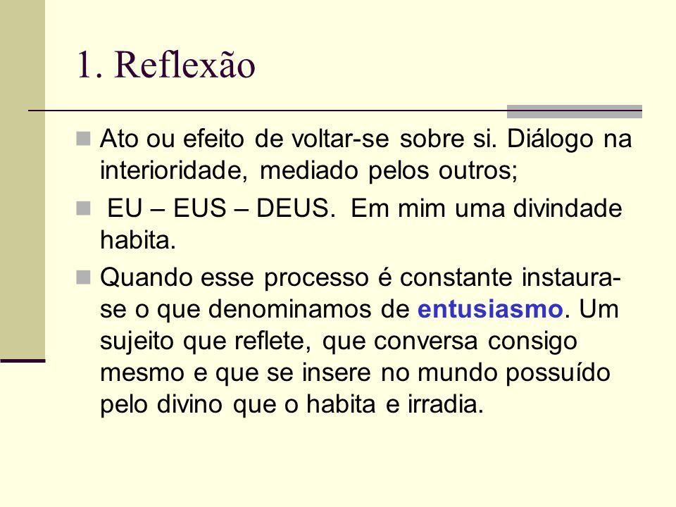 1. Reflexão Ato ou efeito de voltar-se sobre si. Diálogo na interioridade, mediado pelos outros; EU – EUS – DEUS. Em mim uma divindade habita. Quando