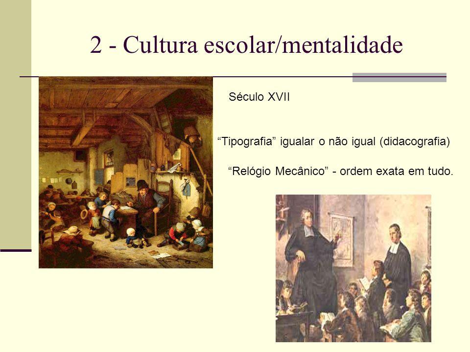 2 - Cultura escolar/mentalidade Século XVII Tipografia igualar o não igual (didacografia) Relógio Mecânico - ordem exata em tudo.