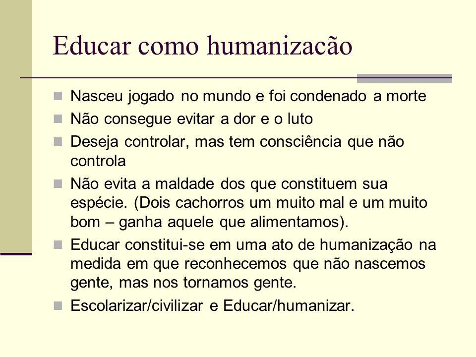 Educar como humanizacão Nasceu jogado no mundo e foi condenado a morte Não consegue evitar a dor e o luto Deseja controlar, mas tem consciência que nã