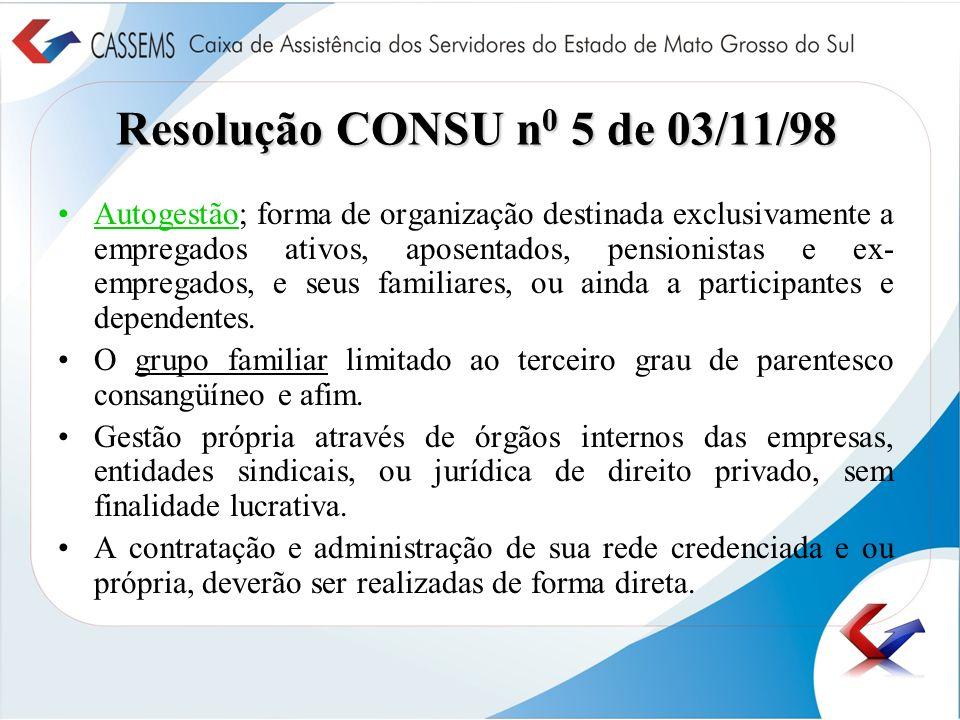 Resolução CONSU n 0 5 de 03/11/98 Autogestão; forma de organização destinada exclusivamente a empregados ativos, aposentados, pensionistas e ex- empre