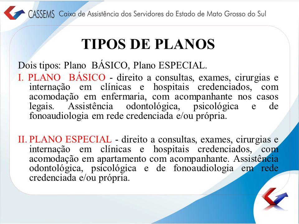 TIPOS DE PLANOS Dois tipos: Plano BÁSICO, Plano ESPECIAL. I. PLANO BÁSICO - direito a consultas, exames, cirurgias e internação em clínicas e hospitai