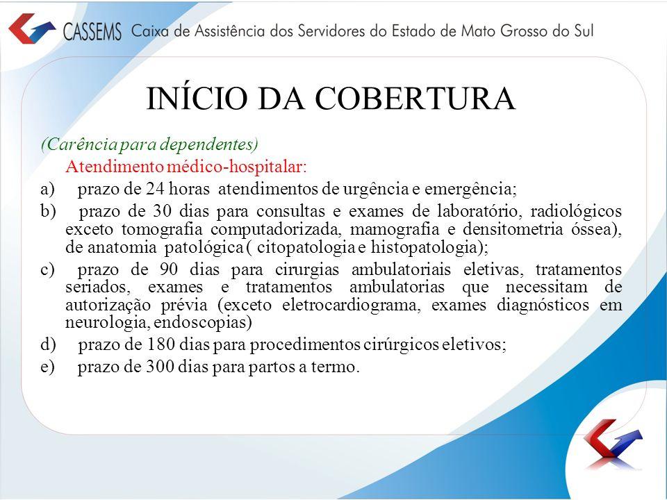 INÍCIO DA COBERTURA (Carência para dependentes) Atendimento médico-hospitalar: a) prazo de 24 horas atendimentos de urgência e emergência; b) prazo de