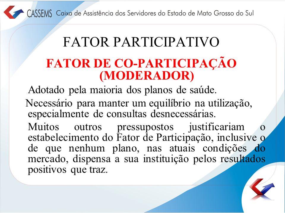 FATOR PARTICIPATIVO FATOR DE CO-PARTICIPAÇÃO (MODERADOR) Adotado pela maioria dos planos de saúde. Necessário para manter um equilíbrio na utilização,