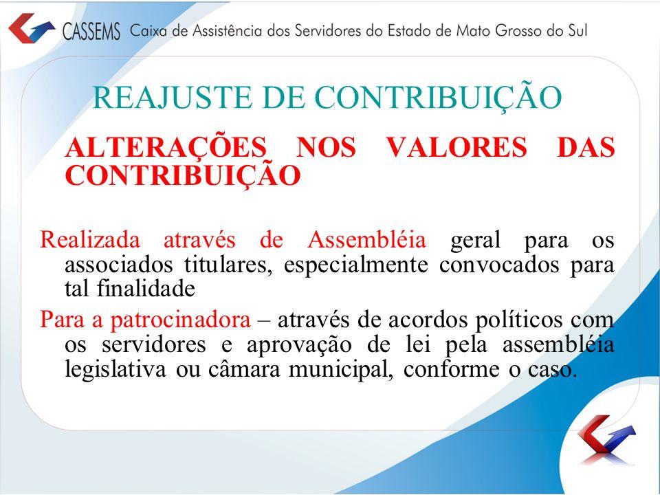 REAJUSTE DE CONTRIBUIÇÃO ALTERAÇÕES NOS VALORES DAS CONTRIBUIÇÃO Realizada através de Assembléia geral para os associados titulares, especialmente con