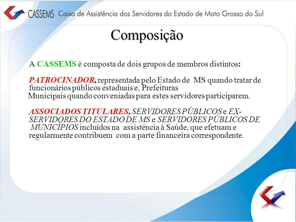 Composição A CASSEMS é composta de dois grupos de membros distintos: PATROCINADOR, representada pelo Estado de MS quando tratar de funcionários públic