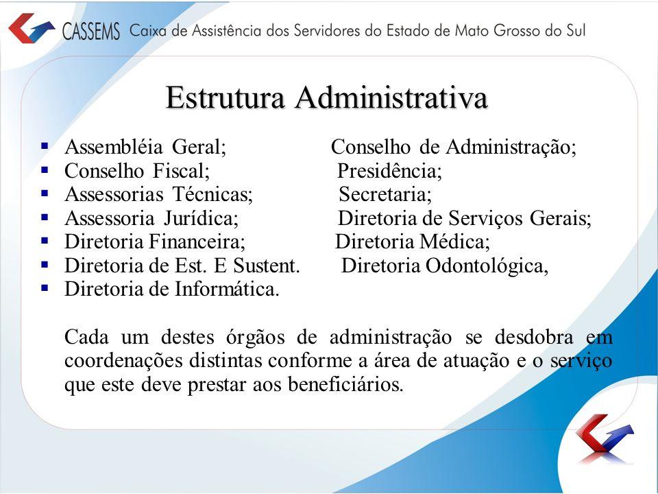 Estrutura Administrativa Assembléia Geral; Conselho de Administração; Conselho Fiscal; Presidência; Assessorias Técnicas; Secretaria; Assessoria Juríd