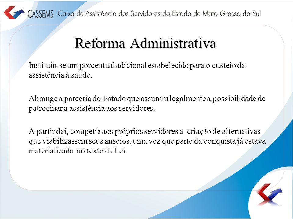 Reforma Administrativa Instituiu-se um porcentual adicional estabelecido para o custeio da assistência à saúde. Abrange a parceria do Estado que assum