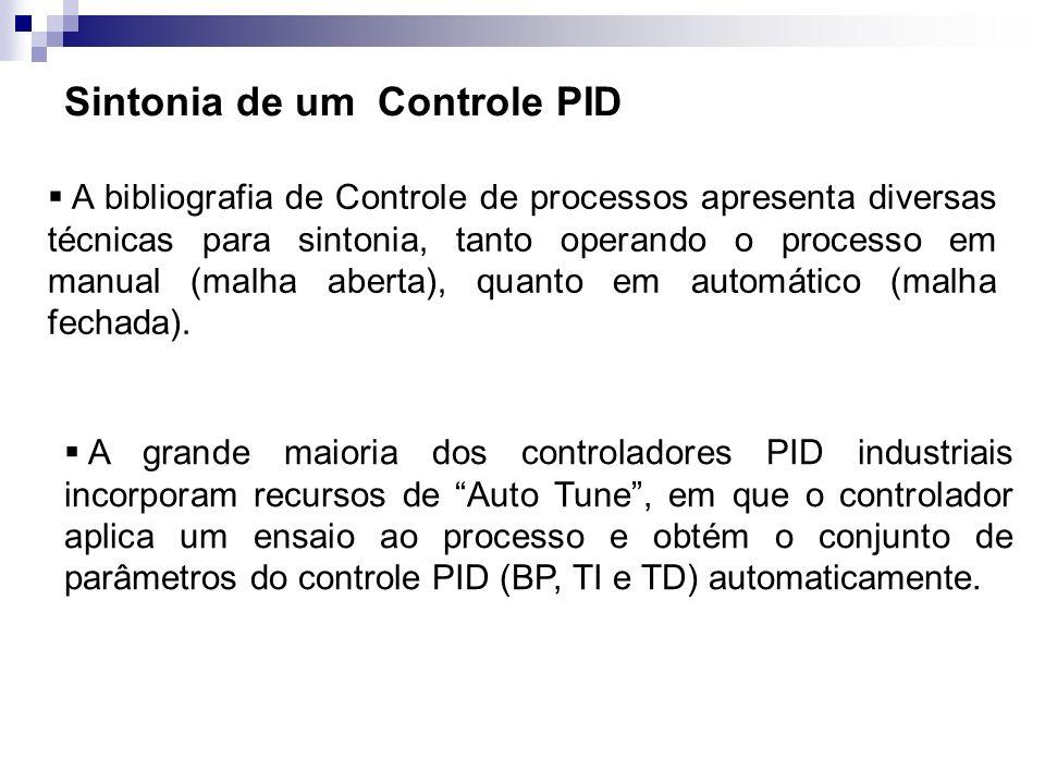 Sintonia de um Controle PID A bibliografia de Controle de processos apresenta diversas técnicas para sintonia, tanto operando o processo em manual (ma