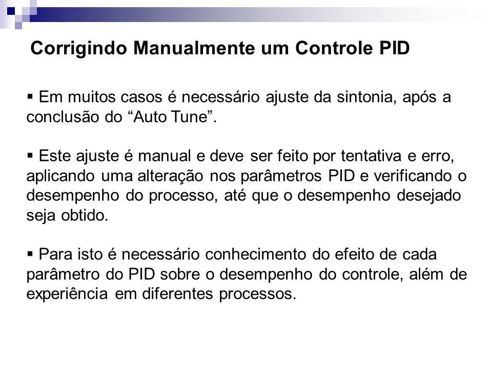 Corrigindo Manualmente um Controle PID Em muitos casos é necessário ajuste da sintonia, após a conclusão do Auto Tune. Este ajuste é manual e deve ser