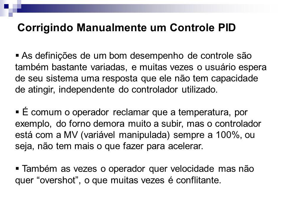 Corrigindo Manualmente um Controle PID As definições de um bom desempenho de controle são também bastante variadas, e muitas vezes o usuário espera de