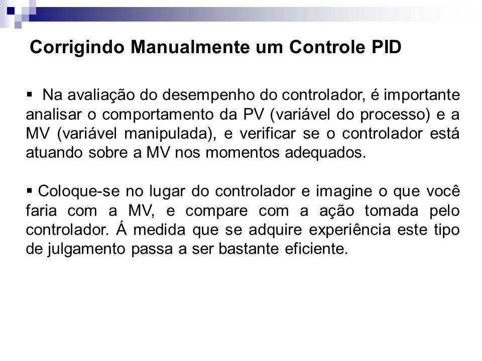 Corrigindo Manualmente um Controle PID Na avaliação do desempenho do controlador, é importante analisar o comportamento da PV (variável do processo) e