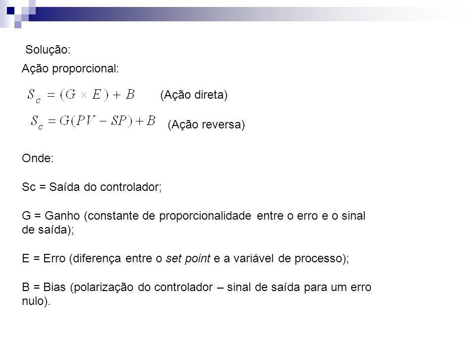 Solução: Ação proporcional: Onde: Sc = Saída do controlador; G = Ganho (constante de proporcionalidade entre o erro e o sinal de saída); E = Erro (dif
