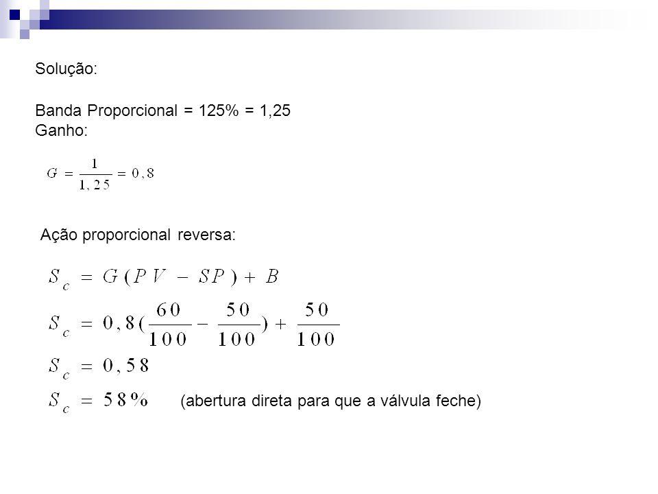 Solução: Banda Proporcional = 125% = 1,25 Ganho: Ação proporcional reversa: (abertura direta para que a válvula feche)