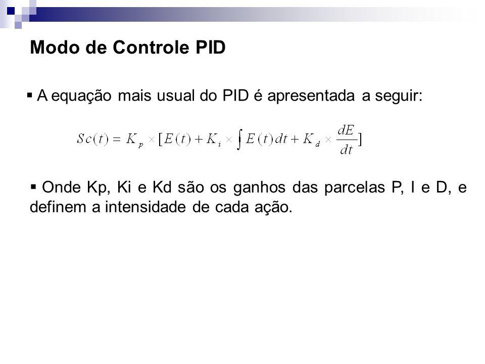 Modo de Controle PID A equação mais usual do PID é apresentada a seguir: Onde Kp, Ki e Kd são os ganhos das parcelas P, I e D, e definem a intensidade