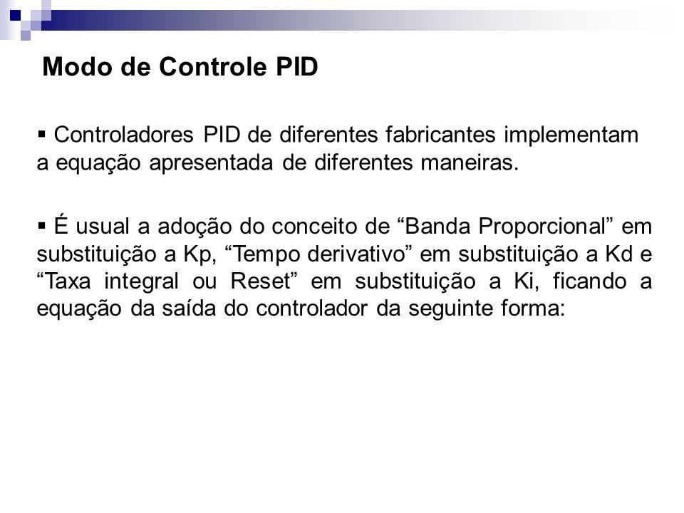Modo de Controle PID Controladores PID de diferentes fabricantes implementam a equação apresentada de diferentes maneiras. É usual a adoção do conceit
