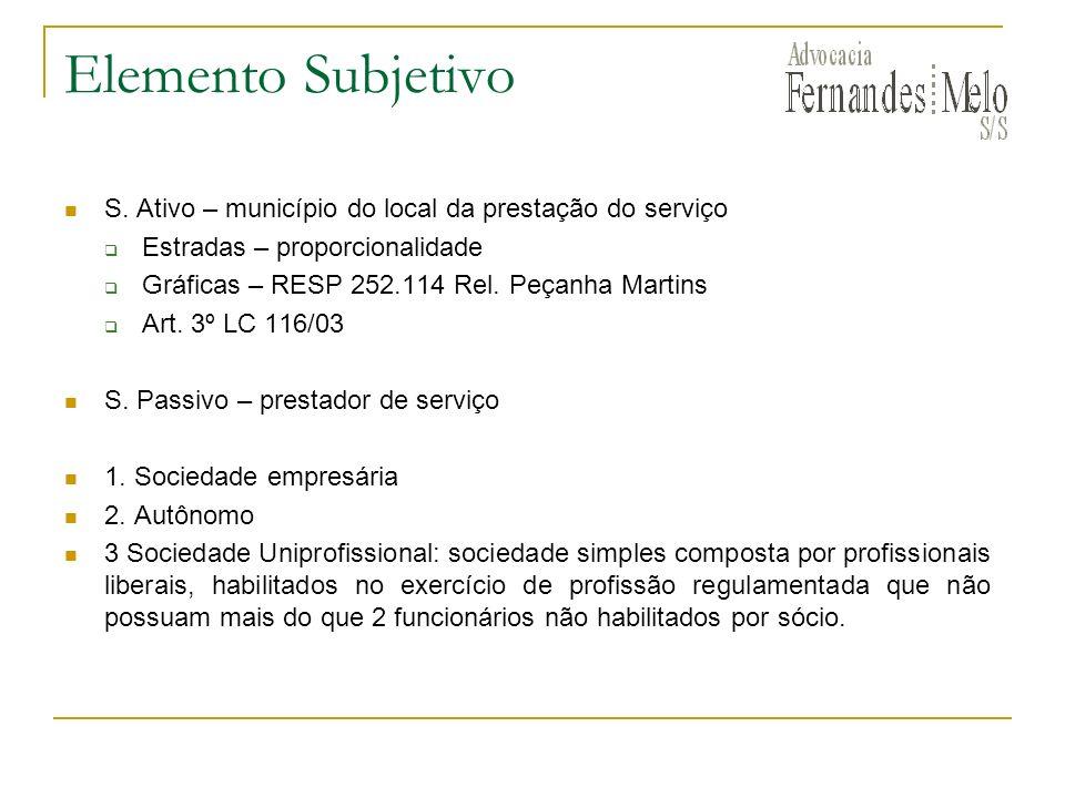 Elemento Subjetivo S. Ativo – município do local da prestação do serviço Estradas – proporcionalidade Gráficas – RESP 252.114 Rel. Peçanha Martins Art