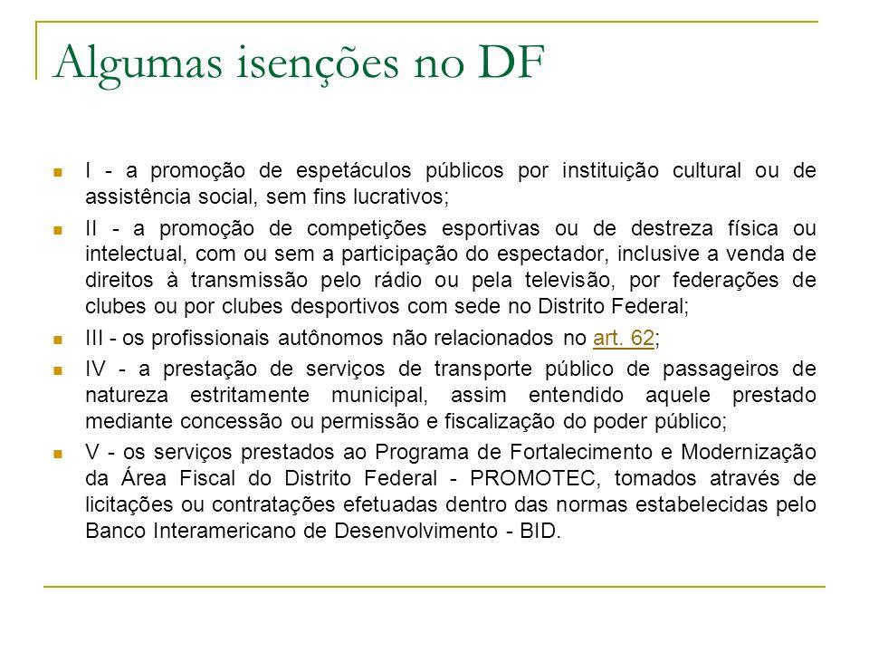 Algumas isenções no DF I - a promoção de espetáculos públicos por instituição cultural ou de assistência social, sem fins lucrativos; II - a promoção