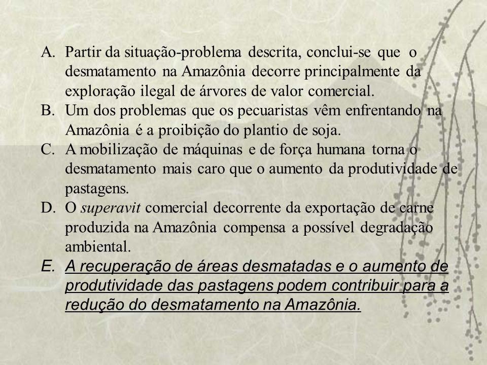 A.Partir da situação-problema descrita, conclui-se que o desmatamento na Amazônia decorre principalmente da exploração ilegal de árvores de valor come
