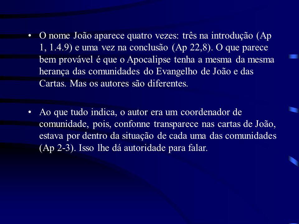 O Livro do Apocalipse de João pode ser dividido da seguinte forma: Capítulo 1 - Introdução; Capítulos 2 ao 3 - Carta para as 7 igrejas; Capítulos 4 ao 11 - Apocalipse I - 1o.