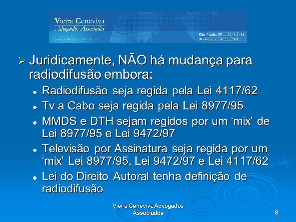 Vieira Ceneviva Advogados Associados8 Juridicamente, NÃO há mudança para radiodifusão embora: Juridicamente, NÃO há mudança para radiodifusão embora: