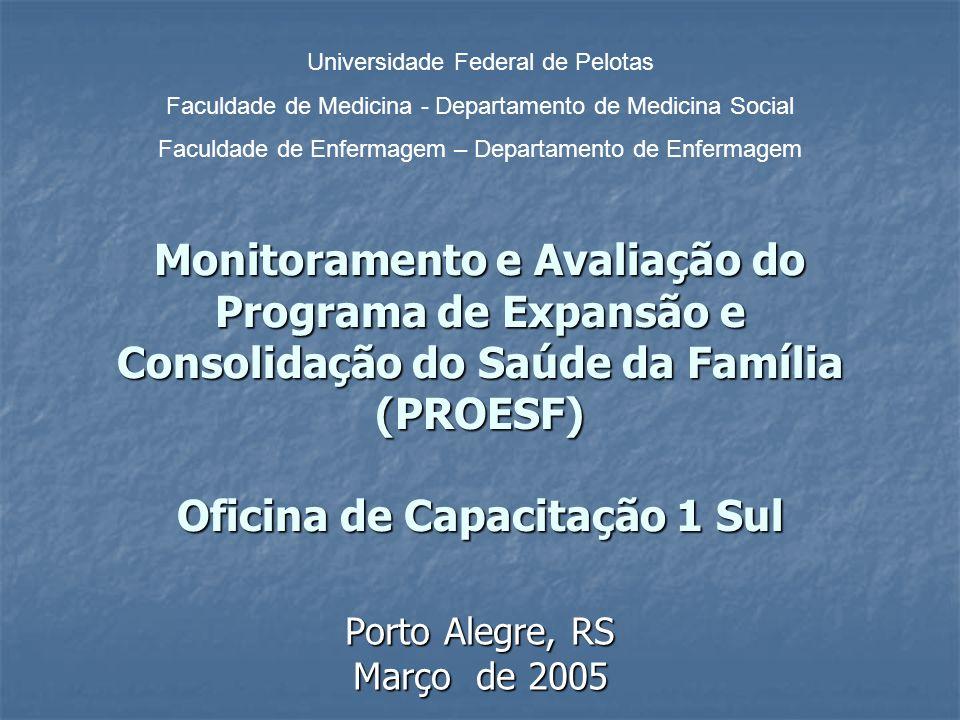 Monitoramento e Avaliação do Programa de Expansão e Consolidação do Saúde da Família (PROESF) Oficina de Capacitação 1 Sul Porto Alegre, RS Março de 2