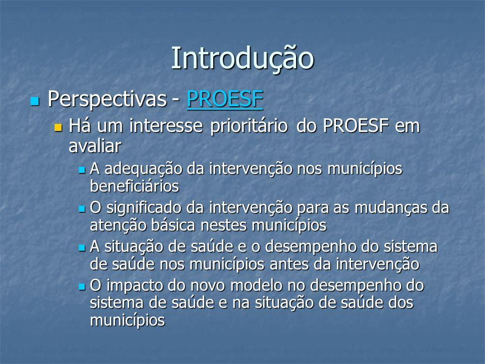 Introdução Perspectivas - PROESF Perspectivas - PROESFPROESF Há um interesse prioritário do PROESF em avaliar Há um interesse prioritário do PROESF em