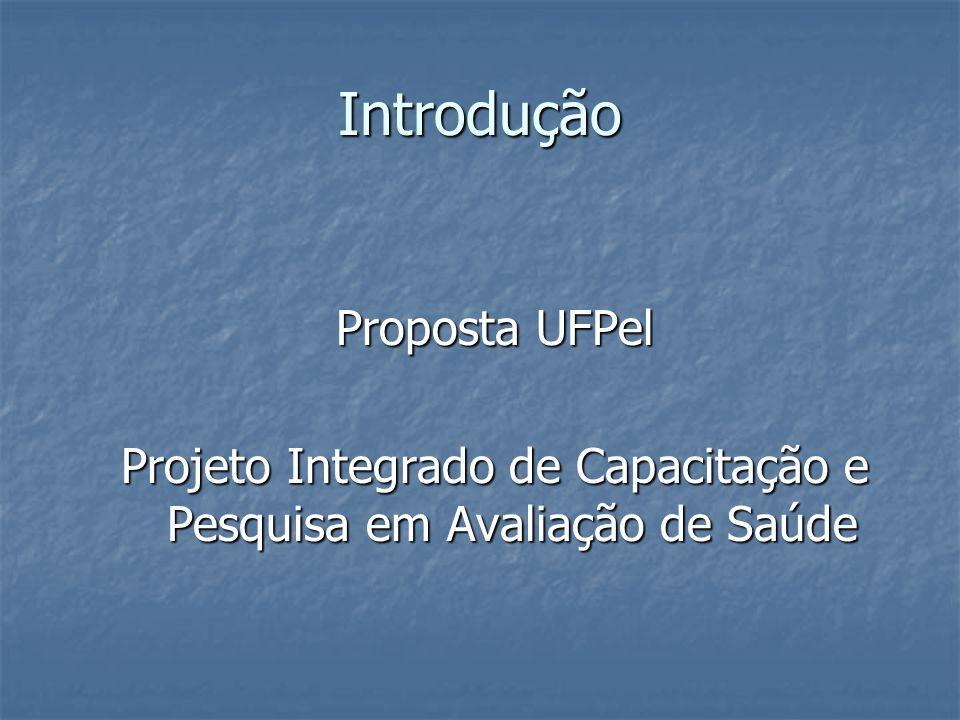 Introdução Proposta UFPel Projeto Integrado de Capacitação e Pesquisa em Avaliação de Saúde