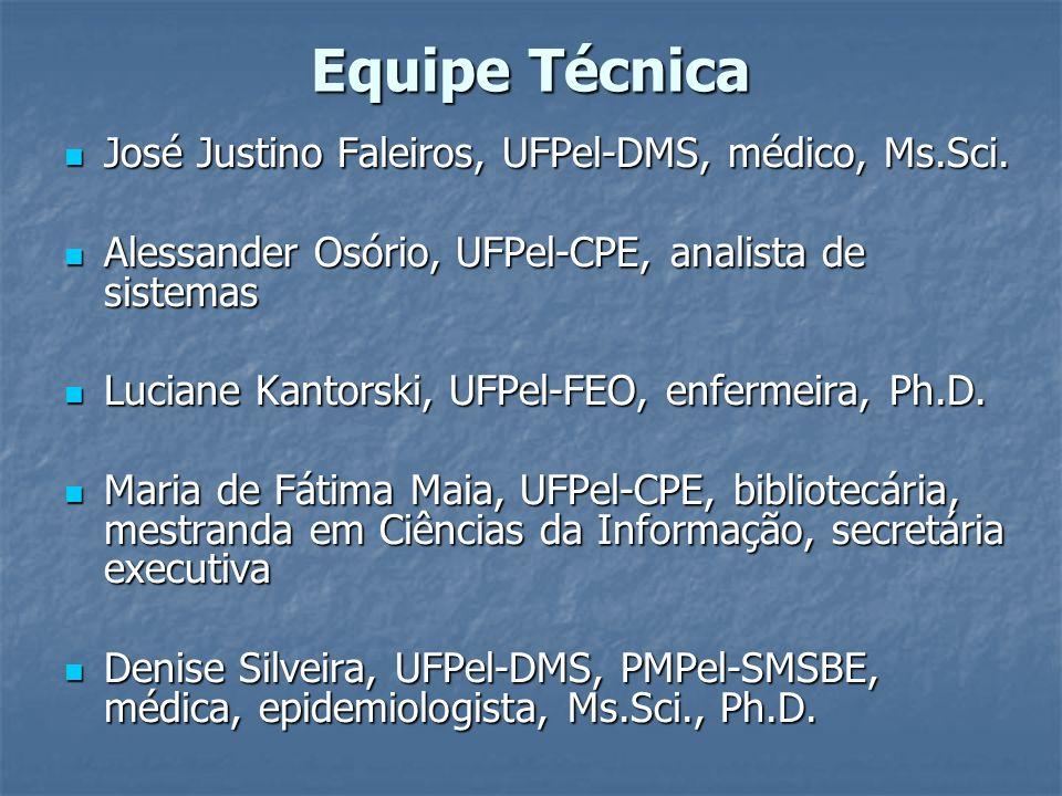 Equipe Técnica José Justino Faleiros, UFPel-DMS, médico, Ms.Sci. José Justino Faleiros, UFPel-DMS, médico, Ms.Sci. Alessander Osório, UFPel-CPE, anali