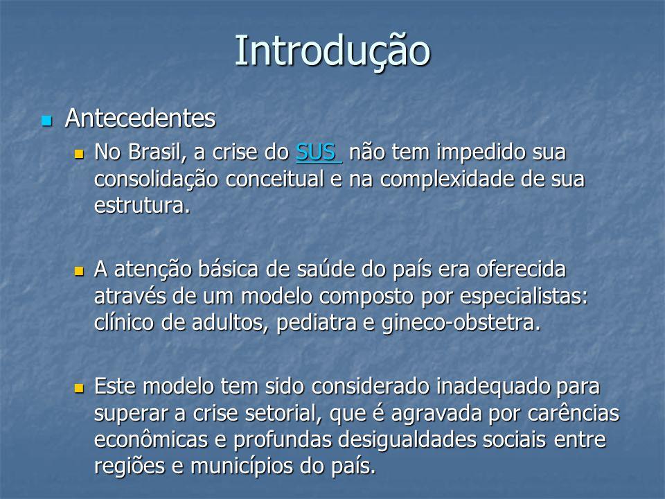 Introdução Antecedentes Antecedentes No Brasil, a crise do SUS não tem impedido sua consolidação conceitual e na complexidade de sua estrutura. No Bra
