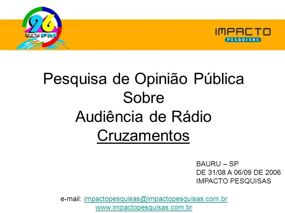 Pesquisa de Opinião Pública Sobre Audiência de Rádio Cruzamentos BAURU – SP DE 31/08 A 06/09 DE 2006 IMPACTO PESQUISAS e-mail: impactopesquisas@impact
