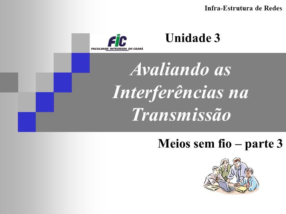 Infra-Estrutura de Redes Avaliando as Interferências na Transmissão Unidade 3 Meios sem fio – parte 3
