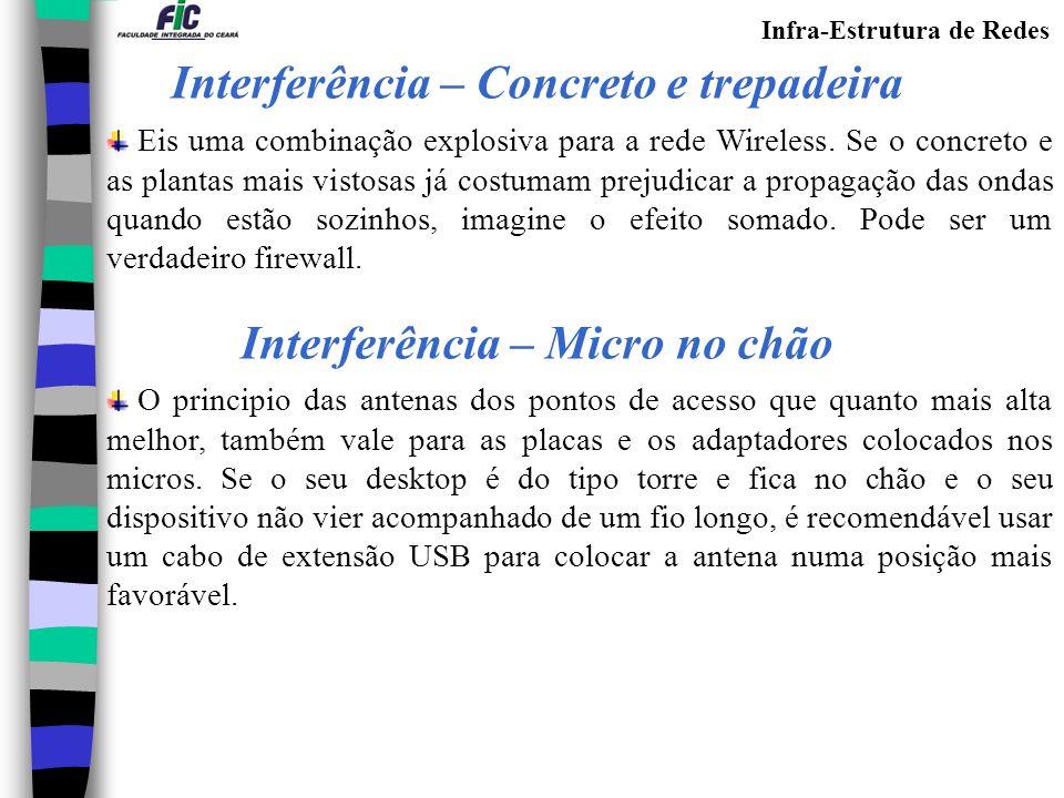 Infra-Estrutura de Redes Eis uma combinação explosiva para a rede Wireless.