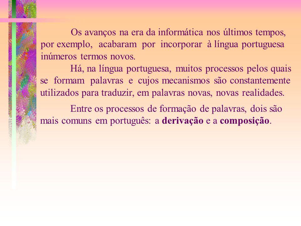 Os avanços na era da informática nos últimos tempos, por exemplo, acabaram por incorporar à língua portuguesa inúmeros termos novos.