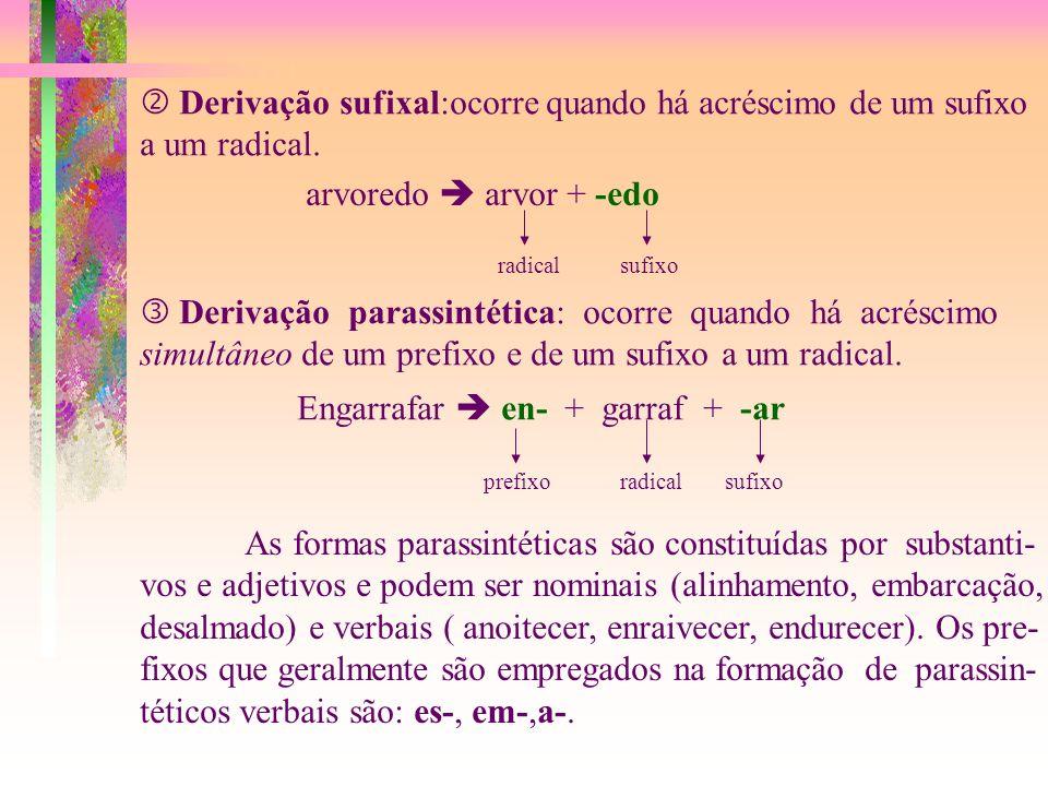 Derivação sufixal:ocorre quando há acréscimo de um sufixo a um radical.
