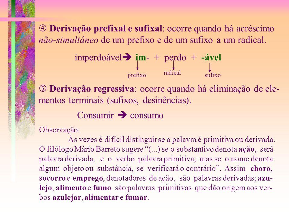 Derivação sufixal:ocorre quando há acréscimo de um sufixo a um radical. arvoredo arvor + -edo radicalsufixo Derivação parassintética: ocorre quando há