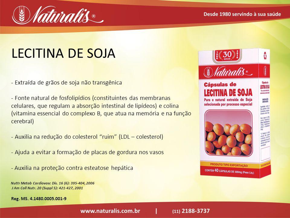 LECITINA DE SOJA - Extraída de grãos de soja não transgênica - Fonte natural de fosfolipídios (constituintes das membranas celulares, que regulam a ab